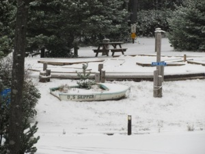 boat planter covered in snow