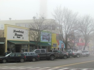 Downtown Garberville on a foggy morning