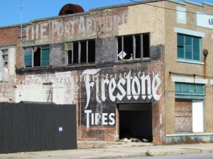 abandoned firestone building