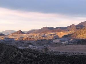 copper mine at sunset