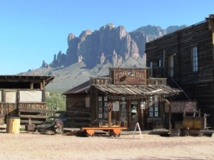 Mining town in the shadow of Superstition Mountains.